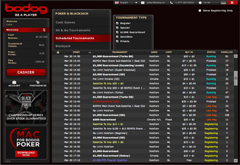 Bodog Online Poker Tournaments